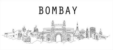 Bombay city hand drawing panoramic sketch illustration Иллюстрация