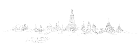 vector panoramic bangkok city sketch  イラスト・ベクター素材