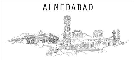 Ahmedabad city hand drawing panoramic sketch illustration