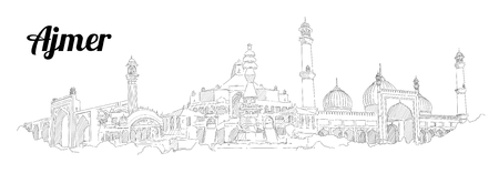 Ajmer city hand drawing panoramic sketch illustration