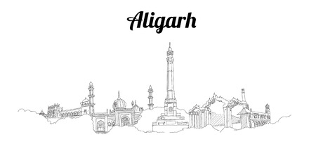 Aligarh city hand drawing panoramic sketch illustration