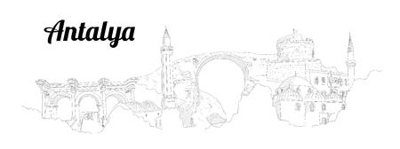 Antalya city vector panoramic hand drawing illustration