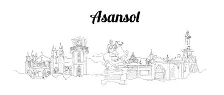 Asansol city vector panoramic hand drawing illustration