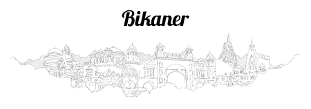 BIKANER CITY city vector panoramic hand drawing illustration