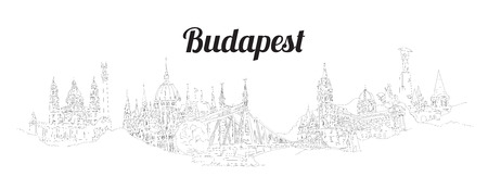 BUDAPEST city hand drawing panoramic sketch illustration