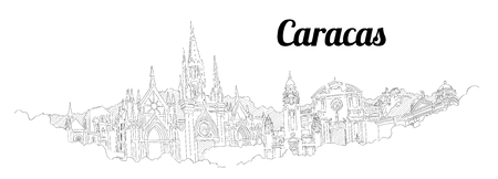 Caracas city vector panoramic hand drawing sketch illustration