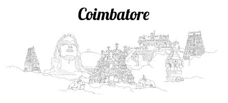 Coimbatore city vector panoramic hand drawing sketch illustration Иллюстрация
