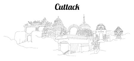 Cuttack city vector panoramic hand drawing sketch illustration