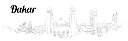 DAKAR CITY city vector panoramic hand drawing illustration