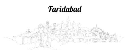 Faridabad city vector panoramic hand drawing sketch illustration
