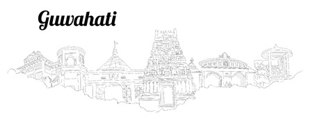 GUWAHATI CITY city vector panoramic hand drawing illustration Иллюстрация