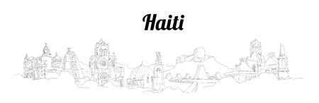 Haiti CITY city vector panoramic hand drawing illustration