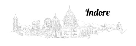 INDORE CITY city vector panoramic hand drawing illustration Иллюстрация