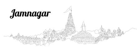 Jamnagar CITY city vector panoramic hand drawing illustration