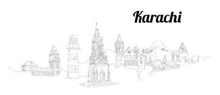 KARACHI city vector panoramic hand drawing illustration