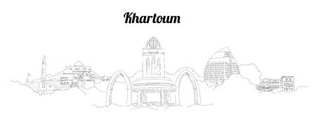 Khartoum city vector panoramic hand drawing sketch illustration