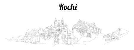 Kochi city vector panoramic hand drawing sketch illustration