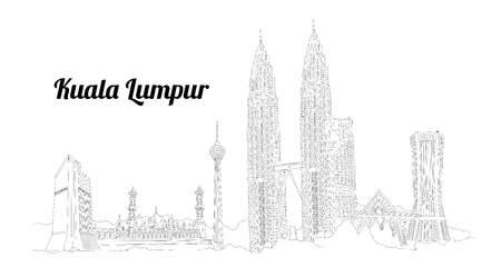 KUALA LUMPUR city vector panoramic hand drawing illustration Vettoriali