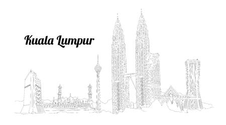 KUALA LUMPUR city vector panoramic hand drawing illustration Иллюстрация