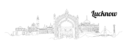 LUCKNOW city vector panoramic hand drawing illustration