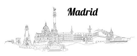 MADRID city hand drawing panoramic sketch illustration 일러스트