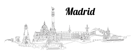 MADRID city hand drawing panoramic sketch illustration Vectores