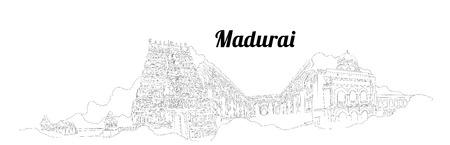 MADURAI CITY city vector panoramic hand drawing illustration