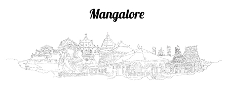 Mangalore city vector panoramic hand drawing sketch illustration