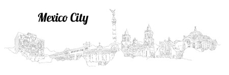 MEXICO CITY city vector panoramic hand drawing illustration Foto de archivo - 101622921