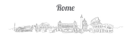 ROME city panoramic vector hand drawing artwork Иллюстрация