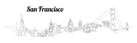 SAN FRANCISCO city vector panoramic hand drawing illustration Иллюстрация