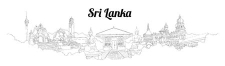 Sri-Lanka CITY city vector panoramic hand drawing illustration