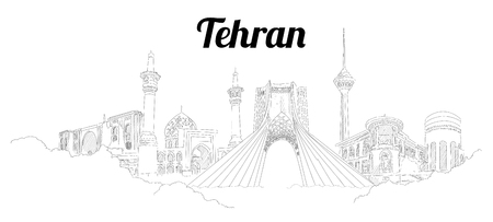 Tehran CITY city vector panoramic hand drawing illustration