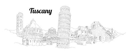 Pisa city panoramic vector hand drawing artwork Иллюстрация