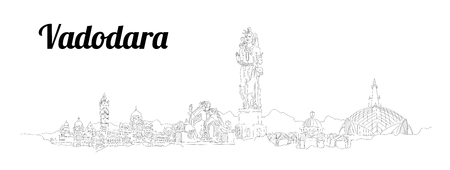 Vadodara CITY city vector panoramic hand drawing illustration