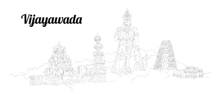 Vijayawada CITY city vector panoramic hand drawing illustration
