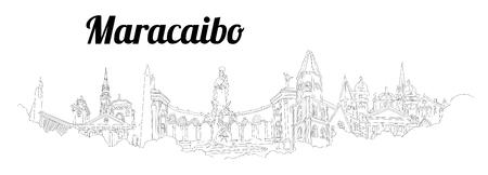 Maracaibo CITY city vector panoramic hand drawing illustration