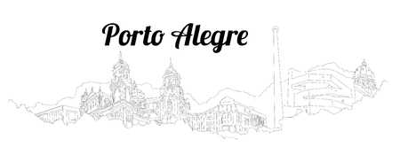 PORTO ALEGRE CITY city vector panoramic hand drawing illustration