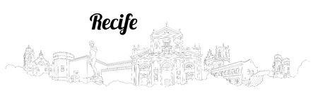 RECIFE CITY city vector panoramic hand drawing illustration