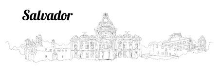 SALVADOR CITY city vector panoramic hand drawing illustration