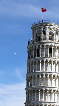 Italy, Pisa tower with airplane Stock Photo
