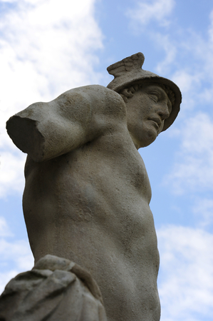 Close-up of the statue of the Greek god Hermes. Sky and clouds in the background. Este, Padua, Veneto region, Italy