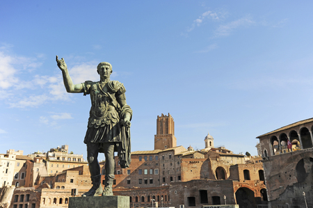 Statue of the Emperor Trajan in Fori Imperiali street, Rome, Italy Editorial