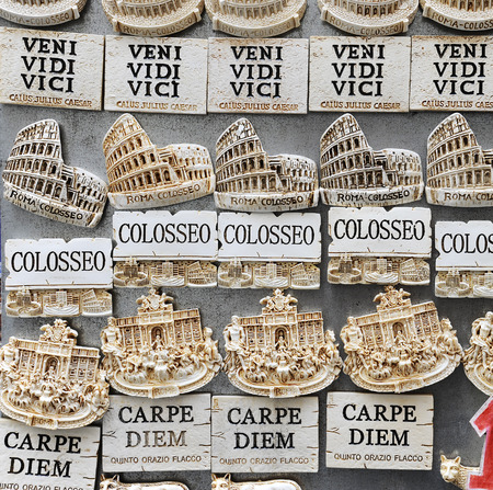 Famous Latin phrases used for souvenirs in Rome, Italy