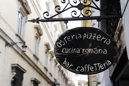Roman cuisine - Sign of Italian restaurant in Rome, Italy