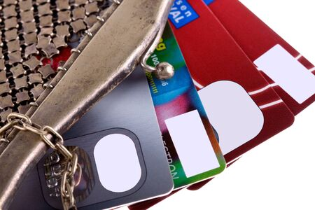 antiquarian: antiquarian purse with credit cards Stock Photo