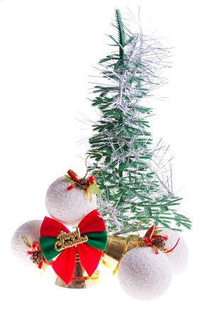 Christmas tree, and other decorations on a white background photo