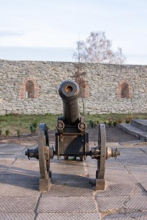 Ancient cannon on wheels  Dubno Castle  Ukraine