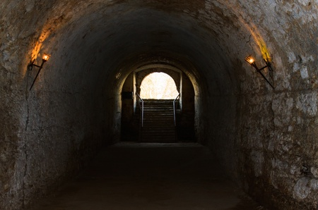 bad lit catacombs of the castle in Dubno, Ukraine