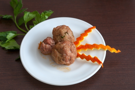 meatballs with parsley on a plate Stock Photo - 17896092